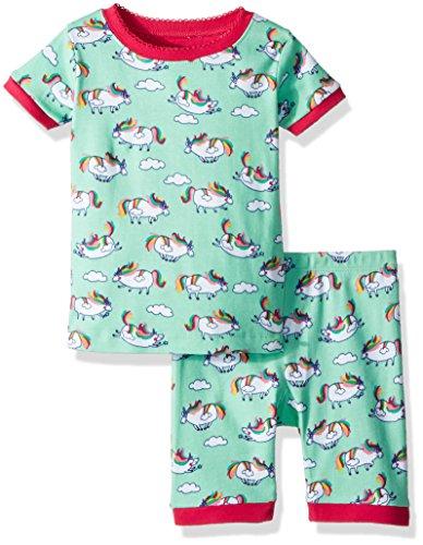 Hatley Big Girls' Organic Cotton Short Sleeve Printed Pajama Sets, Roly Poly Unicorns, 12 (Hatley Pj Set)