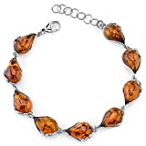 Baltic Amber Bracelet Sterling Silver Cognac Color Tear Drop Shape