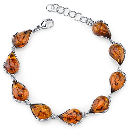 (Baltic Amber Bracelet Sterling Silver Cognac Color Tear Drop Shape)