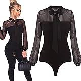 Rambling New Women Sexy Black Mesh Sheer Long Sleeve Bodycon Bodysuit Jumpsuit Tops