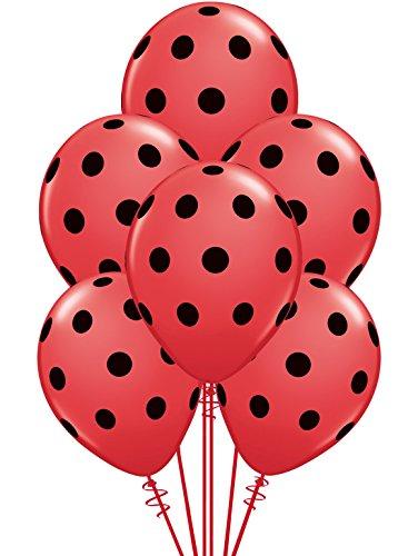 Qualatex Big Black Polka Dots Biodegradable Latex Balloons, 11-Inch (12-Units)