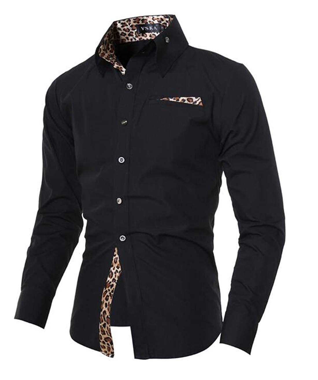 XTX Mens Casual Leopard Stitching Pocket Button Down Top Shirts