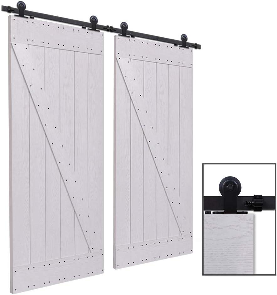 Herraje Puerta Corredera 153cm/5ft Negro, CCJH Riel Puerta Corredera Armario, Adecuado para 2 Puertas de 39 cm de ancho [T Shape Hanger]: Amazon.es: Bricolaje y herramientas