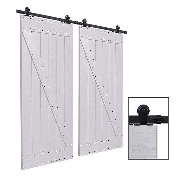CCJH 7.5FT-229cm Herraje para Puerta Corredera Kit de Accesorios para Puertas Correderas Rueda Riel Juego para Dos Puertas de Madera: Amazon.es: Bricolaje y herramientas