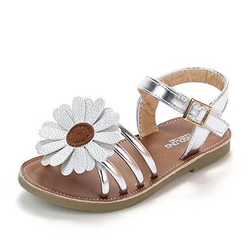 (Haalife◕‿ Baby Girls Sandals Flower Summer Shoes Soft Sole T-Strap Toddler First Walker Crib Shoes Silver)