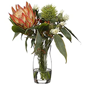 "16"" Hx15 W Protea, Eucalyptus & Wolly Silk Flower Arrangement -Orange/Green 119"