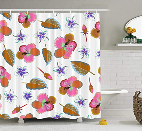KJONG Watercolor-Wheel-Floral Bathroom Shower Curtains 72x78 inches Multicolored Hibiscus White Aloha Hawaiian Shirt Art Artwork Waterproof Fabric Bathroom Curtain Set of Hooks