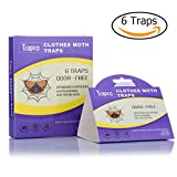 Clothes Moth Traps with Pre-Baited Pheromone Attractant, Non-Toxic and Odor-Free (6 Traps)