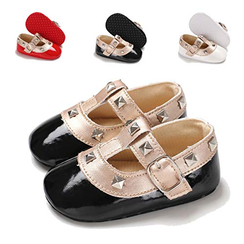 7277d15d08343 Infant Baby Girls Shoes Mary Jane Flat Soft Sole Floral Princess ...