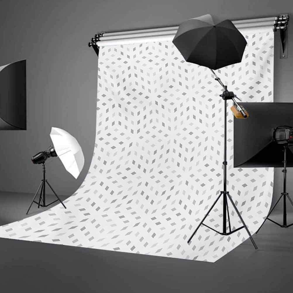 Grey and White 10x12 FT Backdrop Photographers,Geometric Diamond Shaped Mosaic Motif Digital Artistic Minimalist Display Background for Party Home Decor Outdoorsy Theme Vinyl Shoot Props Grey White
