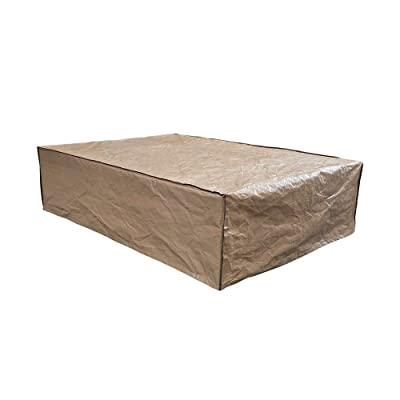 """Patiorama Outdoor Patio Sofa Cover, Rectangular Waterproof Garden Couch Protector, All Weather Protection, 89\"""" L x 65\"""" W x 24\"""" H, Neutral Beige: Kitchen & Dining"""