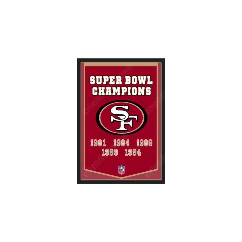Dynasty Banner Of San Francisco 49ers Framed Awesome & Beautiful Must For A Championship Team Fan Most NFL Team Dynasty Banners Available Plz Go Through Description & Mention In Gift Message If Need A different Team   Sports Fan Wall Banners