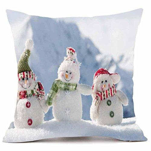 Velvet Snowman - Elogoog Thanksgiving Christmas Decor 18 x 18 Pillow Covers Printing Santa Claus Elk Snowman Dyeing Ultra-velvet Throw Pillowcase Sofa Waist Cushion Cover (18 x 18 Inches, Three Cute Snowman)