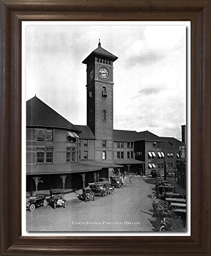 (Impact Posters Gallery Framed Wall Decoration Vintage Ford Model T Car Union Station Portland, Oregon Brown Rust Framed Art Print Picture (19x23))