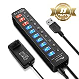 #10: APANAGE Powered USB 3.0 Hub, 11 Ports USB Hub Splitter (7 High Speed Data Transfer Ports + 4 Smart Charging Ports) with Individual On/Off Switches and 48W Power Adapter for Mac Pro/mini, PC, HDD, Disk