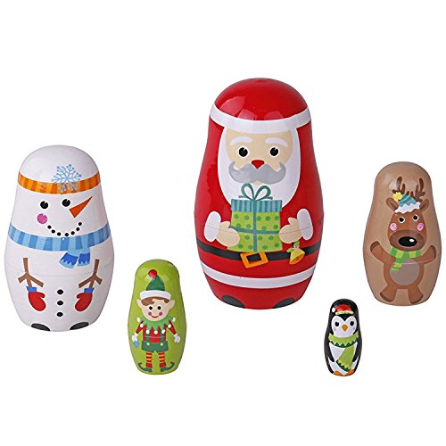 Pidoko Kids Nesting Dolls - Santa and Friends Christmas Edition - Perfect Stacking Dolls Gift for Toddlers Boys & Girls by Pidoko Kids