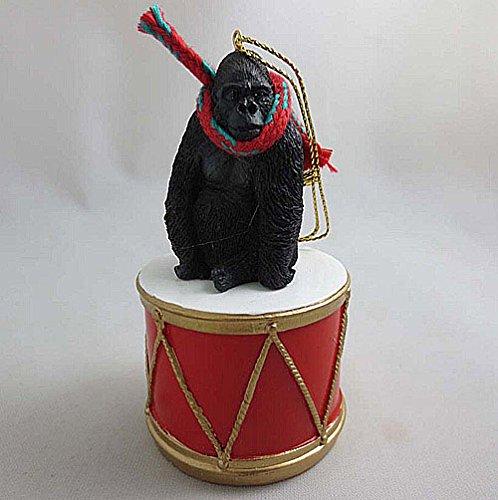 Little Drummer Gorilla Christmas Ornament - Hand Painted - Delightful by Animal Den