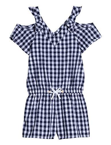 Gingham Girls Shorts - Nautica Little Girl's Fashion Romper Shorts, gingham navy, 5