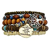 Rosemarie Collections Women's Tree Of Life Beaded Bracelet Set
