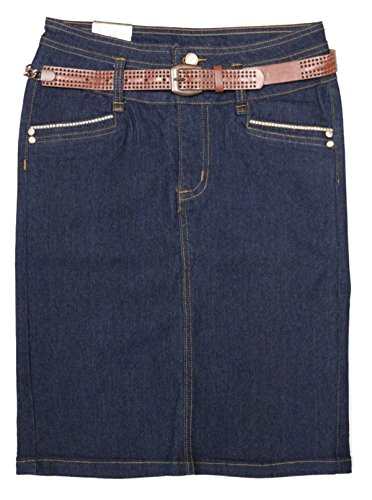No Fuze Women's Stretch Below The Knee Length Belted Denim Skirt 28