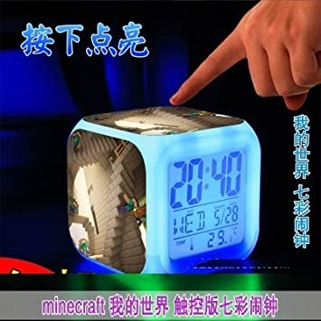 Light Touch Minecraft 2015 alarma de reloj con LED Anna Elsa de dibujos animados figuras de