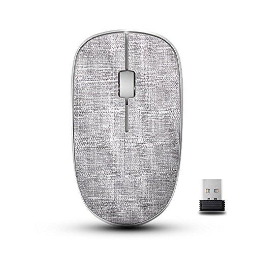 RAPOO Wireless Mouse for Mac Laptop PC, Fabric Ergonomic Optical Computer Mice USB Nano Receiver- Heather (Fabric Keyboard)