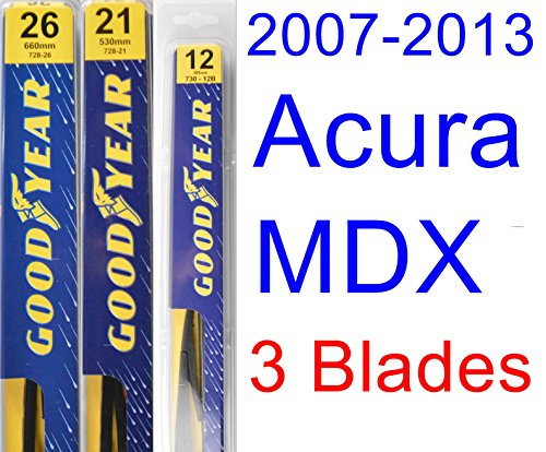 2007-2013 Acura MDX Replacement Wiper Blade Set/Kit (Set of 3 Blades) (Goodyear Wiper Blades-Premium) (2008,2009,2010,2011,2012)