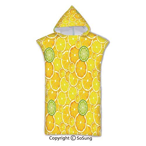 Yellow Decor Kids Hooded Beach Bath Towel,Lemon Orange Lime Citrus Round Cut Circles Big and Small Pattern,7-15 Years Old Microfiber Bath Robe,Yellow White and Green,for Beach Pool Shower