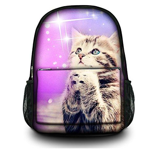 Fashion Unisex Vintage Canvas Backpack Retro School Laptop Shoulder Backpack Bag Bookbag Travel Camping Hiking Rucksack (Cute Cat) CPB-26