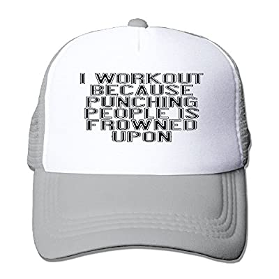 Achunlan Work Out Because Punching People Is Frowned Upon.pngCustom Breathable Trucker Mesh Hat, Moisture Wicking Adjustable Snapback Trucker Hat For Men & Women For Leisure and Sport ActivitiesAsh