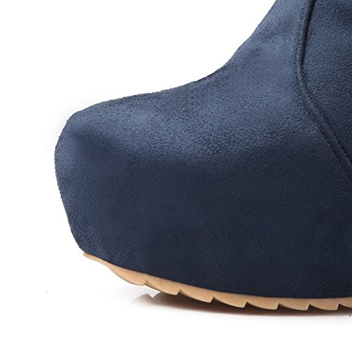 AmoonyFashion and Imitated Suede 5 Short B Blue High US Womens Frosted with Buckle Solid Boots M Plush Wege 7 Heels 7rxf7nq