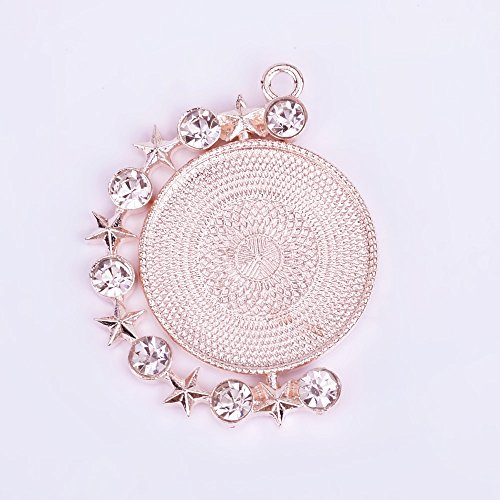25mm Zinc Alloy Double Side Round Pendant Setting Blank with Rhinestones Pendant Tray Blanks DIY Jewelry,Sold 10pcs/lot,Rose Gold ()