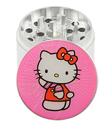2.45 inch / 62mm 4 Pc HELLO KITTY Aluminium Herb Tobacco Spice Grinder W Pouch & Scraper by Infynity Expressions IEGR-BG62CHHK