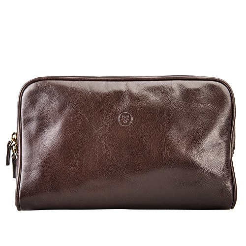 Maxwell Scott Personalized Luxury Brown Mens Leather Washbag (Raffaelle) by Maxwell Scott Bags