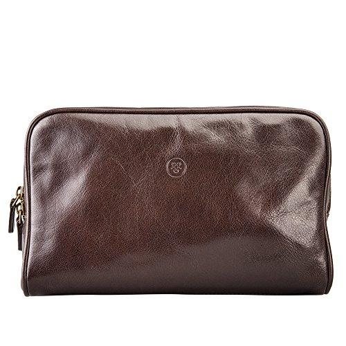 Maxwell Scott Luxury Brown Mens Leather Washbag (Raffaelle) by Maxwell Scott Bags