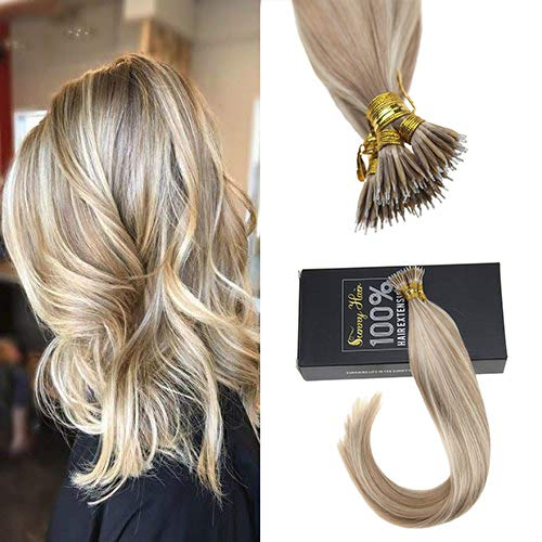 Sunny 18inch Remy Human Nano Ring Hair Extensions Two Tone Color Dark Ash Blonde with Golden Blonde Highlights Micro Loop Nano Ring Hair Extensions Human Hair