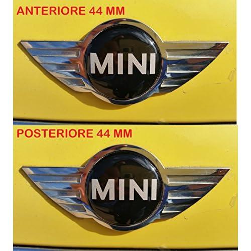 Lot de 2autocollants avec logo Mini Cooper, avant + arrière en résine, effet 3D, adhésif 3M, pour capot et coffre, 44mm