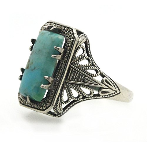 Filigree Sterling Silver Cushion Cabochon Natural Turquoise stone Statement Ring ()