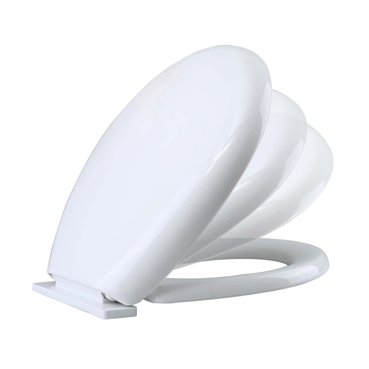 No Slam Toilet Seat Easy Close White Plastic Round Comfortable Ergonomic Design Slow Closing Lid System Quiet Durable High Impact Plastic Resists Staining And Cracking Easy Clean Easy Install. Lid 16 1/2'' L X 14-3/16'' W Adjustable Hinge Fits Hole Spacing