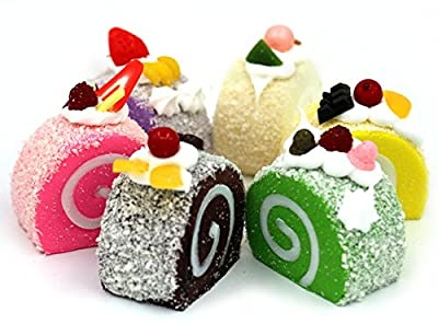 NICE PURCHASE 6pcs Realistic Artificial Cake Dessert Mixed Fake Cake Model Home Staging Crafts Photography Props Fake Swiss Roll Home Decoration