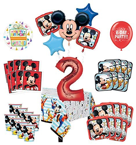 Mayflower Products Mickey Mouse and Friends 2nd Birthday Party Supplies 8 Guest Decoration Kit and Balloon Bouquet ()