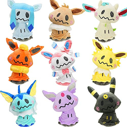 eSunny 9Pcs/Set Kawaii Mimikyu Cosplay Eevee Anime Stuffed Plush Stuffed Plush Doll Toys Gifts for Kids Cool Must Haves Friendship Gifts Toddler Favourite 4T Superhero UNbox ()