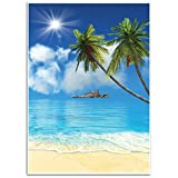 Tropical Beach Background - Photography Backdrop - Great for Studio, Booth, Party, Photo, Wedding, Business Use, 4.9 x 7.2 Feet