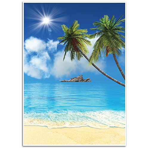 Tropical Beach Background - Photography Backdrop - Great for Studio, Booth, Party, Photo, Wedding, Business Use, 4.9 x 7.2 Feet -