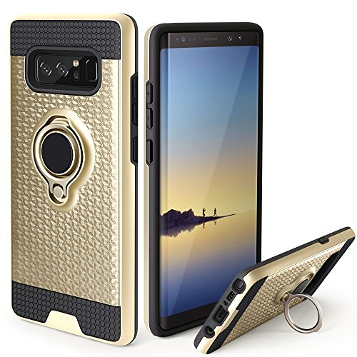 Galaxy Note 8 Case,Jelanry Ring Holder Phone Mount Stand Cover Note 8 Case Kickstand Shell Impact Resistant Dual Layer Armor Hybrid Protective Soft Bumper Case for Samsung Galaxy Note 8 Gold - Kickstand Bumper