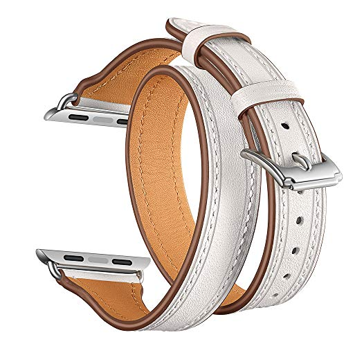 Christmas Hot Sale!!!Kacowpper Double Tour Leather Accessory Band Replacement Bracelet for Apple Watch 4 (White Shield Protector Case)