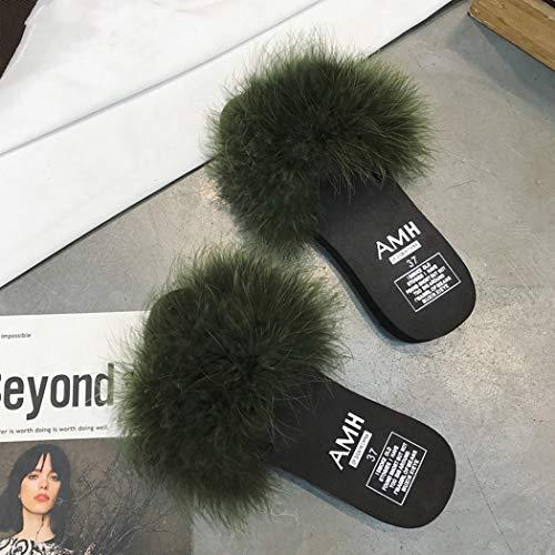Fur Di Diapositive Flip In Pelliccia Green Casa Fluffy Primavera Sandali Pattini Platform Delle Pavimento Flops Piatto Signore Army Estate Faux Pantofole Donne 5T5IqY