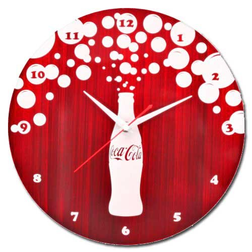 LumiSource Red and White Coca Cola Bursting Bubbles Metal Clock Coke Clock