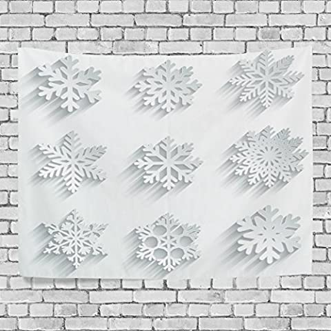 WellLee Merry Christmas Wall Tapestry,White Xmas Snow Flakes,Home Decor Tapestry Wall Hanging for Dorm Throw Living - Prince Hand Painted Wall Hanging