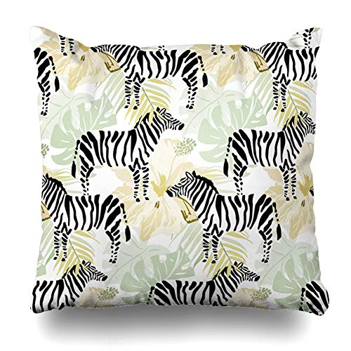 Ahawoso Decorative Throw Pillow Cover Tropical Zebras Hibiscus Flowers Palm Leaves On Light Pattern African Black Design Home Decor Zippered Square Size 18